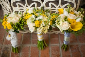 yellow and gray wedding flowers